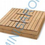 Fa homokozó paddá alakítható , IMPREGNÁLT lezárható, AJÁNDÉK geotextíliával és vízálló takaróponyvával 150cm x 150cm