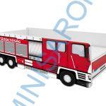 Tűzoltóautós leesésgátlós gyerekágy 140×70 cm matraccal